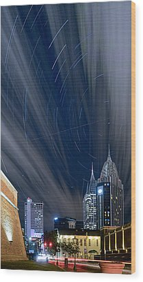Star Trails And City Lights Wood Print
