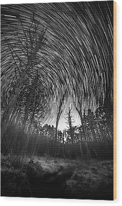 Star Trails - Blue Ridge Parkway Wood Print