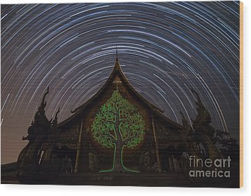 Wood Print featuring the photograph Star Trails In The Night At Temple by Tosporn Preede