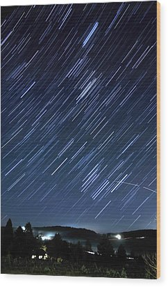 Star Trails Long Exposure At Night Wood Print by Evan Sharboneau