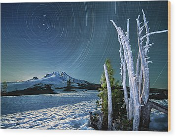 Wood Print featuring the photograph Star Trails Over Mt. Hood by William Lee