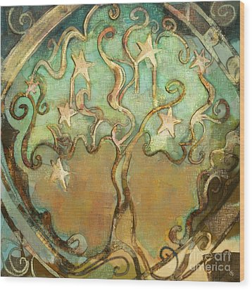 Wood Print featuring the tapestry - textile Star Tree by Carrie Joy Byrnes
