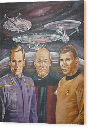 Wood Print featuring the painting Star Trek Tribute Enterprise Captains by Bryan Bustard