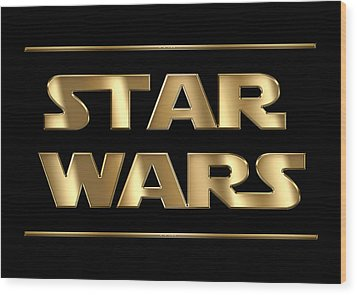 Star Wars Golden Typography On Black Wood Print by Georgeta Blanaru