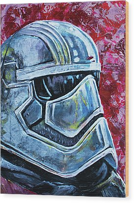 Star Wars Helmet Series - Captain Phasma Wood Print by Aaron Spong