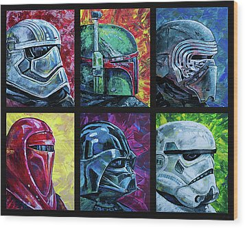 Star Wars Helmet Series - Collage Wood Print by Aaron Spong