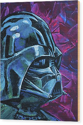 Star Wars Helmet Series - Darth Vader Wood Print by Aaron Spong