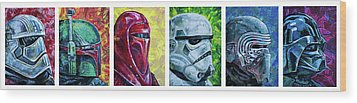 Star Wars Helmet Series - Panorama Wood Print by Aaron Spong