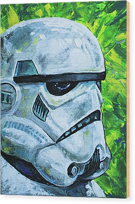 Star Wars Helmet Series - Storm Trooper Wood Print by Aaron Spong