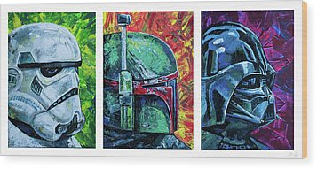 Star Wars Helmet Series - Triptych Wood Print by Aaron Spong