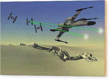 Star Wars Wood Print by Michael Greenaway
