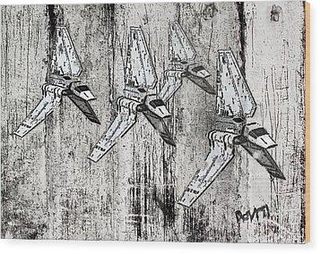 Star Wars Swarm  Wood Print by Andy Walsh