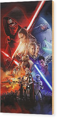 Wood Print featuring the painting Star Wars The Force Awakens Artwork by Sheraz A