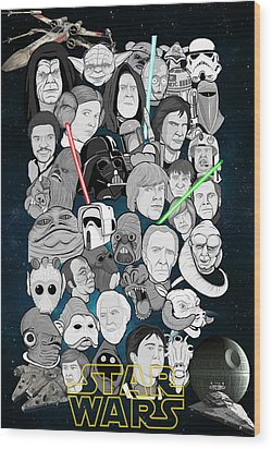 Star Wars Universe Collage Wood Print by Gary Niles