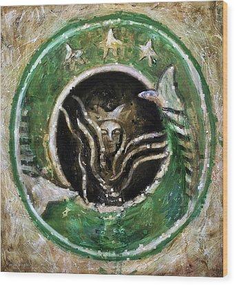 Starbucks Wood Print by Antonio Ortiz