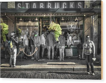 Wood Print featuring the photograph Starbucks At The Market by Spencer McDonald