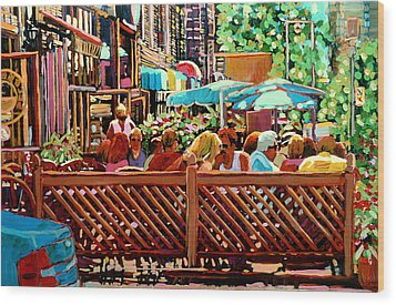 Starbucks Cafe On Monkland Montreal Cityscene Wood Print by Carole Spandau