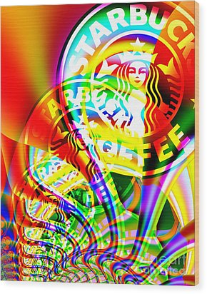 Starbucks Coffee In Abstract Wood Print by Wingsdomain Art and Photography
