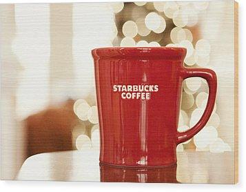 Starbucks Coffee Wood Print by Kim Fearheiley