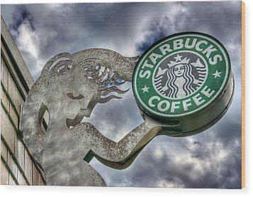Starbucks Coffee Wood Print by Spencer McDonald