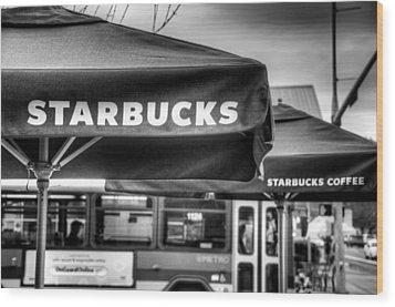 Starbucks Umbrella Wood Print by Spencer McDonald
