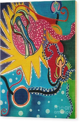 Wood Print featuring the drawing Starburst by Christine Perry