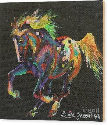 Starburst Pony Wood Print by Louise Green