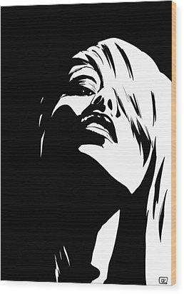 Wood Print featuring the drawing Stare by Giuseppe Cristiano