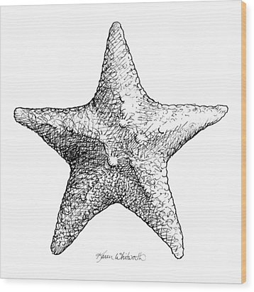 Wood Print featuring the drawing Starfish Drawing Black And White Sea Star by Karen Whitworth