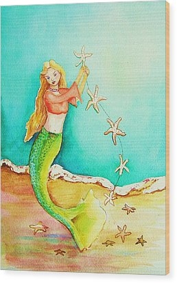 Starfish Mermaid Wood Print by Patricia Piffath