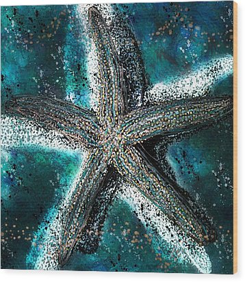 Starfish Ocean Deep Wood Print by Barbara Chichester