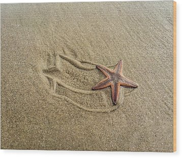 Starfish On The Beach Wood Print by Debra Martz
