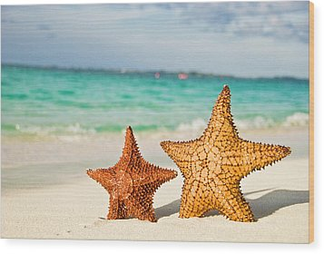 Starfish On Tropical Caribbean Beach Wood Print by Mehmed Zelkovic
