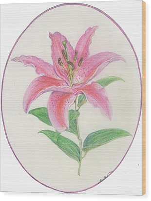 Stargazer Lily Wood Print by Joanna Aud
