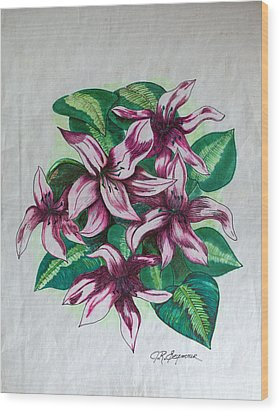 Stargazers Blooming Wood Print by J R Seymour