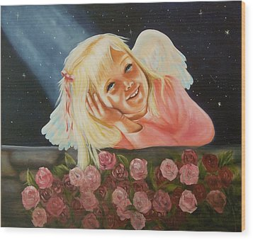 Wood Print featuring the painting Starlight Angel by Joni McPherson