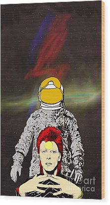 Wood Print featuring the drawing Starman Bowie by Jason Tricktop Matthews