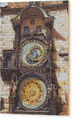 Staromestsky Orloj Wood Print by Gordana Dokic Segedin