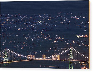 Wood Print featuring the photograph Starry Lions Gate Bridge - Mdxxxii By Amyn Nasser by Amyn Nasser