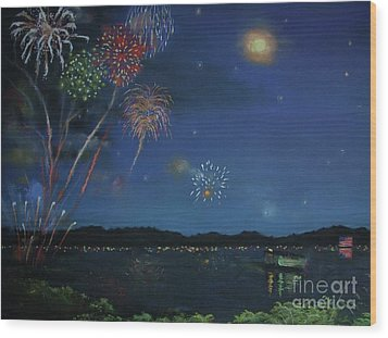 Starry Night At Crooked Creek Marina Wood Print by Jackie Hill