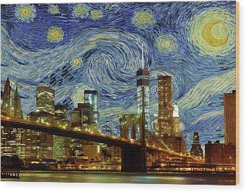 Starry Night Brooklyn Bridge Wood Print by Movie Poster Prints