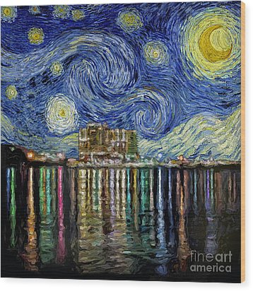 Starry Night In Destin Wood Print by Walt Foegelle