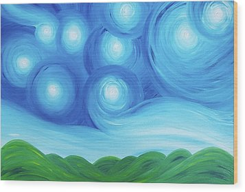 Starry Night Over The Hills  Wood Print by Daniel Lafferty