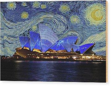 Starry Night Sydney Opera House Wood Print by Movie Poster Prints