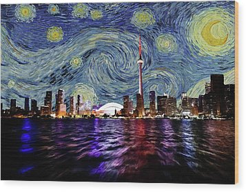 Wood Print featuring the painting Starry Night Toronto Canada by Movie Poster Prints