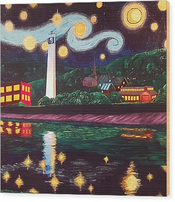 Starry Night With Little Joe Wood Print