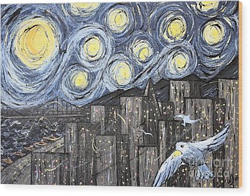 Starry Nights In San Francisco 1985 Wood Print by Wingsdomain Art and Photography