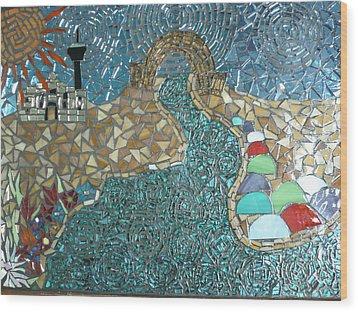 Starry Riverwalk Wood Print by Ann Salas