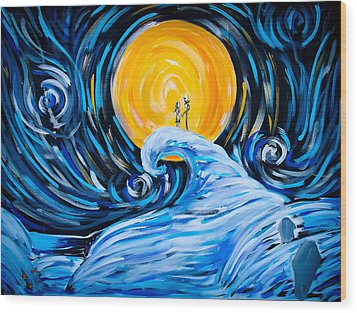 Starry Spiral Hill Night Wood Print by Marisela Mungia