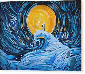 Starry Spiral Hill Night Wood Print